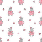 Cute baby Hippo pattern. Vector cartoon hippopotamus. Cute baby Hippo pattern. Vector cartoon seamless background for girls Stock Image