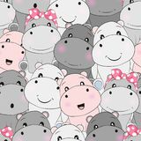 Cute baby hippo seamless pattern stock illustration