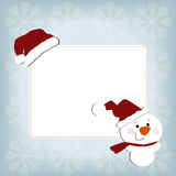 Cute baby holiday Christmas square frame on a blue background Stock Images