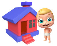 Cute baby with Home. 3d rendered illustration of cute baby with Home Stock Image