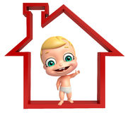 Cute baby with Home Sign. 3d rendered illustration of cute baby with Home Sign Stock Photography