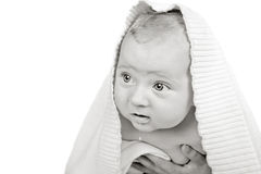 Cute Baby In Hood Stock Images