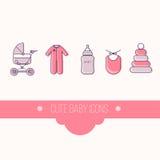 Cute baby icon set vector Stock Photos