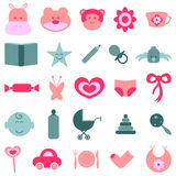 Cute baby icons stock illustration