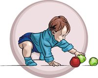 Cute Baby Illustration. Illustration of a cute baby, playing with apples Royalty Free Stock Images