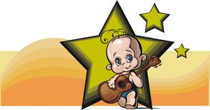 Cute Baby Illustration. Illustration of a cute baby, playing a guitar Royalty Free Stock Image
