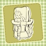 Cute Baby Illustration. Illustration of a cute baby in a safety chair Royalty Free Stock Image