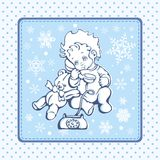 Cute Baby Illustration over Winter Pattern. Cute baby illustration over a winter pattern Royalty Free Stock Images