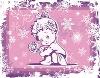 Cute Baby Illustration over Winter Pattern. Cute baby girl illustration over a winter pattern Stock Photography