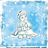 Cute Baby Illustration over Winter Pattern. Cute baby girl illustration over a winter pattern Royalty Free Stock Images