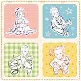 Cute Baby Illustrations Set. A set of cute baby illustrations and kid patterns Royalty Free Stock Photography