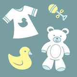 Cute baby items stock images