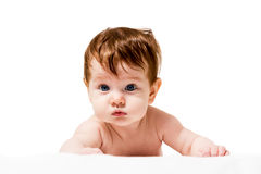 Cute baby on its belly Stock Photo