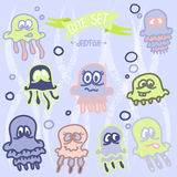 Cute baby jellyfish. Vector EPS10. Vector illustratration with cartoon jellyfish Stock Images