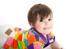 Cute baby kid on the floor stock photography