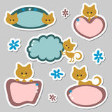 Cute baby kitten stickers. Set Royalty Free Stock Images