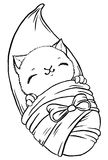 Cute baby kitten wrapped in blanket like newborn Stock Images
