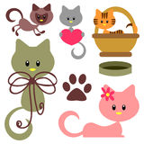 Cute baby kittens set Royalty Free Stock Image