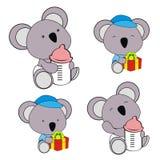 Cute baby koala cartoon feeding bottle collection. Cute baby animal cartoon holding feeding bottle collectionin vector format very easy to edit stock illustration