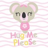 Cute baby koala needs hug  cartoon illustration for baby shower card design Royalty Free Stock Images