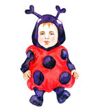 Cute baby in ladybug costume. Hand Painted Watercolor Illustration : Cute baby in ladybug costume Royalty Free Stock Image