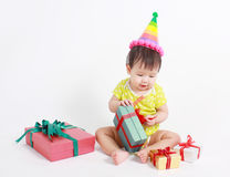 Cute baby laughing wearing party hat Royalty Free Stock Photos