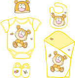 Cute Baby Layette with bear and butterfly Royalty Free Stock Photography