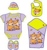 Cute Baby Layette with cute bear in love Royalty Free Stock Photos