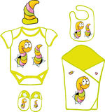 Cute Baby Layette with cute caterpillar and butterfly Stock Photo