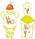 Cute Baby Layette with cute horse and carrot Royalty Free Stock Images