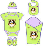 Cute Baby Layette with cute owl - vector Stock Photo