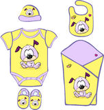 Cute Baby Layette with cute puppy - vector Stock Photo