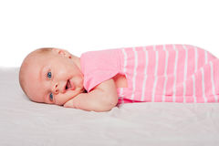 Cute baby laying on belly Royalty Free Stock Photography