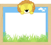 Cute baby lion and blank board. Wood frame with cute baby lion and blank board for copy space, design for children Royalty Free Stock Images