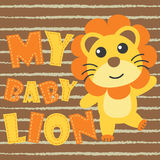 Cute baby lion on brown striped background  cartoon illustration for kid t shirt design. Nursery wall, and wallpaper Royalty Free Stock Photography