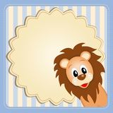 Cute baby lion on decorative background. Illustration of cute young lion on decorative background - birthday invitation Royalty Free Stock Images
