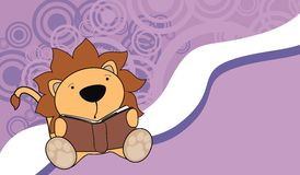 Cute baby lion reading cartoon background Stock Image
