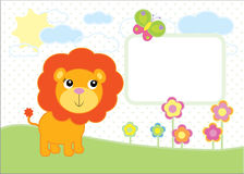 Cute baby lion simple vector background Royalty Free Stock Photos