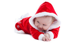 Cute baby in little santa suit Royalty Free Stock Photos