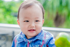 Cute baby look somewhere Royalty Free Stock Image