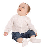 Cute baby looking up Stock Images