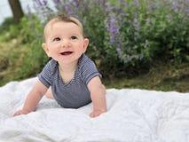 Baby boy on blanket Royalty Free Stock Photos