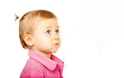 Cute baby looking upwards royalty free stock photography