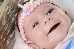 Cute baby lying in the basket Royalty Free Stock Images