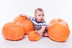 Cute baby lying on his stomach on a white background including p stock photo