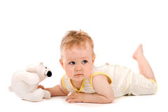 Cute baby lying on tummy Stock Photography