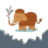 Cute baby mammoth on a drifting ice floe Royalty Free Stock Photography