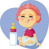 Cute Baby with Milk Bottle Vector Cartoon. Funny hungry infant ready to eat formula drink Stock Photography
