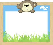 Cute baby monkey and blank board Stock Images