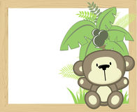 Cute baby monkey frame Stock Images